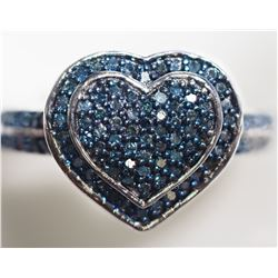 STERLING SILVER RING SET WITH 94 BLUE DIAMONDS (0.5CT) RETAIL APPRAISED VALUE $700