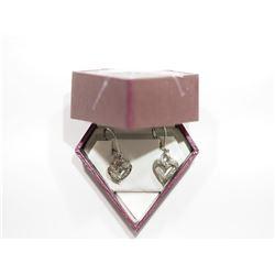 STERLING SILVER HEART SHAPED DIAMOND EARRING RETAIL VALUE $400