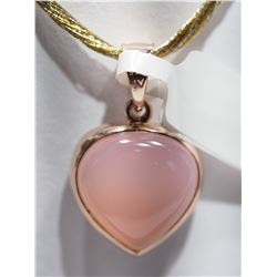 GOLD PLATED STERLING SILVER TWO SIDED HEART SHAPED PENDANT WITH PINK MORGANITE ON