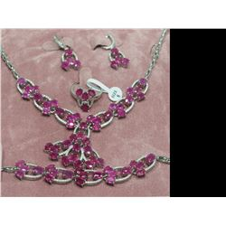 STERLING SILVER NECKLACE, BRACELET, EARRING SET WITH 72 RUBIES(54CT) RETAIL APPRAISED VALUE$4900