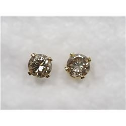 14KT GOLD STUDS WITH LIGHT CHAMPAGNE COLOR DIAMOND (ACT) SUGGESTED RETAIL $1200
