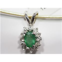 14KT GOLD EMERALD & 12 DIAMONDS (0.18CTO WITH HIGH FASHION CORD RETAIL APPRAISED VALUE $1300