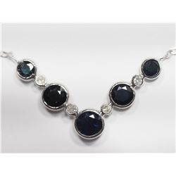 10KT GOLD SAPPHIRE AND DIAMOND NECKLACE HANDCRAFTED IN CANADA RETAIL APPRAISED VALUE $2000