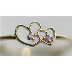 10KT GOLD DOUBLE HEART RING WITH 2 DIAMONDS RETAIL $500