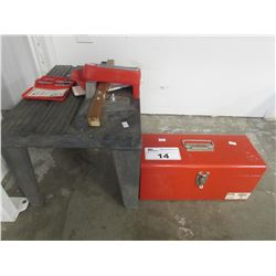 SMALL ROUTER TABLE/SMALL TOOLBOX & CONTENTS