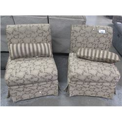 PAIR FLORAL SLIPPER CHAIRS WITH THROW PILLOWS