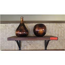 2 Bracketed Wooden Shelf w/ 2 Glass Swirl Vases