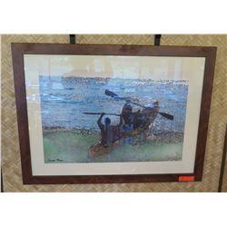 """Framed Print: 2 Men in Canoe, Artist Damon Moss (38.5"""" X 29"""")"""
