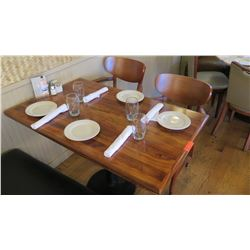 """Rectangular Hardwood Table w/Metal Base (46"""" x 29""""), 2 Chairs"""
