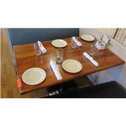 """Rectangular Hardwood Table w/Metal Base, 46"""" x 29"""""""