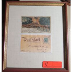 "Framed Original Postcard, Kilauea circa 1900? 1905?, 13.5"" x 12"""