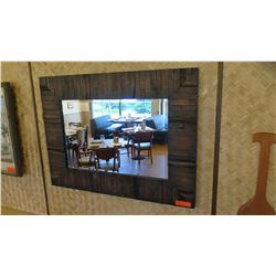 """Rustic Dark-Stained Natural Wood Mirror, 40"""" x 30"""""""