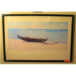 """Framed Print: Outrigger Canoe on White Sand Beach, 25.5"""" x 37.5"""""""