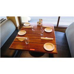 "Natural Koa Wood Table w/Rounded Base, 44"" X 36"""