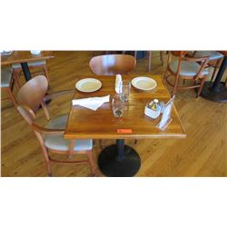 """Natural Koa Wood Table w/Rounded Base, 29"""" X 29"""" w/2 Chairs"""