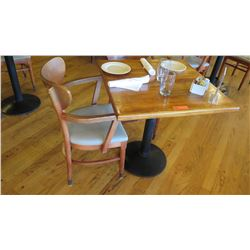 Natural Koa Wood Table w/Rounded Base, 29X29 w/2 Chairs
