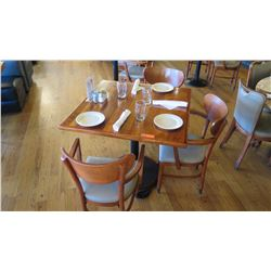 """Natural Koa Wood Table w/Rounded Base (35"""" x 35"""") w/3 Chairs"""
