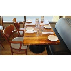 """Natural Koa Wood Table w/Rounded Base (46"""" x 29"""") w/2 Chairs"""