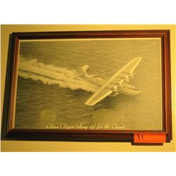 """Black & White Print: China Clipper Taking Off For Orient, 12.5"""" x 18"""""""