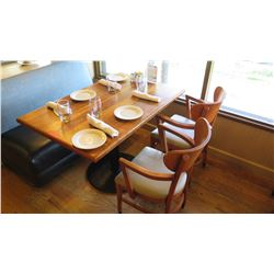 "Natural Koa Wood Table w/Rounded Base (46"" x 29"") w/2 Chairs"