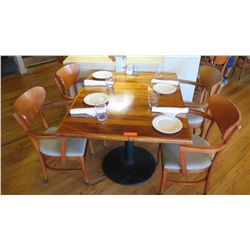 """Natural Koa Wood Table w/Rounded Base (35"""" x 35"""") w/4 Chairs"""