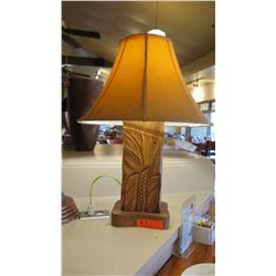 """Carved Wood Lamp, Approx. 24"""""""
