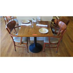 """Natural Koa Wood Table w/Rounded Base (25"""" x 25"""") w/2 Chairs"""