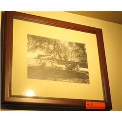 "Framed Black & White Print: Waikiki with Canoe 15"" x 17"""