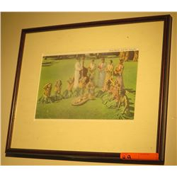 "Framed Hawaiiana Print: Hula Halau 13"" x 16"" (glass has slight white film on it)"