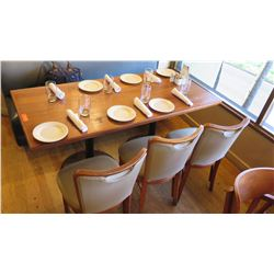 "Natural Koa Wood Table w/Rounded Base (63"" x 29"") w/3 Chairs"