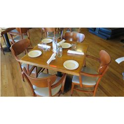 """Natural Koa Wood Table w/Rounded Base (25"""" x 25"""") w/3 Chairs"""