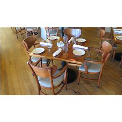 "Natural Koa Wood Table w/Rounded Base (25"" x 25"") w/4 Chairs"