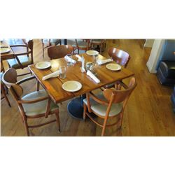 """Natural Koa Wood Table w/Rounded Base (25"""" x 25"""") w/4 Chairs"""
