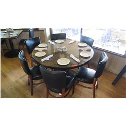 "Round Granite Table w/Round Metal Base (49"" Dia.) w/6 Chairs"