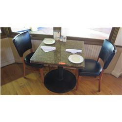 "Square Granite Table w/Round Metal Base (29"" x 29""), 2 Chairs"
