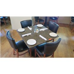 """Square Granite Table w/Round Metal Base (35"""" x 35""""), 4 Chairs"""