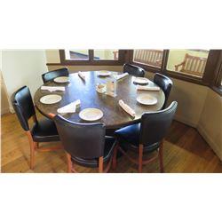 "Round Granite Table w/Round Metal Base (56"" Dia.), 6 Chairs"