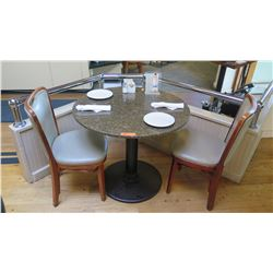 "Round Granite Table w/Round Metal Base (34"" Dia.), 2 Chairs"