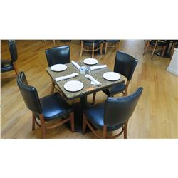 "Square Granite Table w/Round Metal Base (29"" x 29""), 4 Chairs"