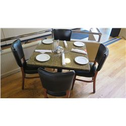 "Square Granite Table w/Round Metal Base (35"" x 35""), 4 Chairs"