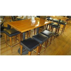 """Wooden Bar Height Table (54""""x 27"""") w/6 Padded Bar Stools"""