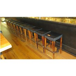 Qty 11 Padded Wooden Bar Height Stools