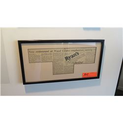 "Framed Memorabilia - Article ""Ryan's Grill Opening"" (1983) 16.5"" x 9"""