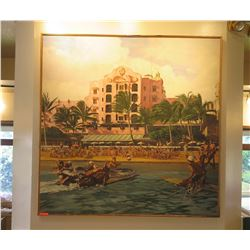"Large Acrylic Painting: Royal Hawaiian Hotel & Surfers, Waikiki  74"" x 73"", Signed"