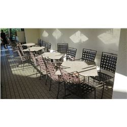 4 Patio Tables, 16 Metal Patio Chairs (stone tables are in varying conditions)