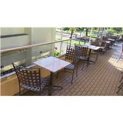 4 Patio Tables, 8 Metal Patio Chairs (stone tables are in varying conditions)