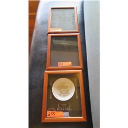 "Qty 3 Wood Framed Glass Shadow Boxes (1 has Ryan's Grill Honolulu Mgzn Award), Approx.  9"" X 11"""