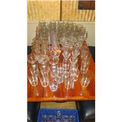 Large Lot of Beverage & Dessert Glasses: Steins, Tumblers, Highballs, Cognac, etc.