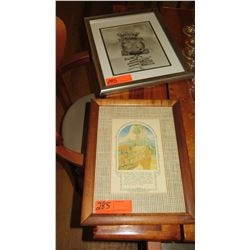 """Qty Framed Vintage Prints: B&W """"Crossroads of the Pacific"""" & """"Primitive Hawaii"""""""