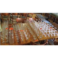 Large Lot of Misc. Bar Glasses: Martini, Pilsners, Cognac, Carafes, Flutes, Copper Mule Mugs, etc.